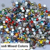 Wholesale ss6 mm Mixed Colors Flat Back Non Hotfix Nail Art Crystals