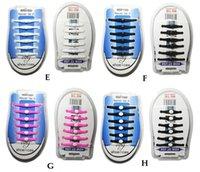 Wholesale 12PCS A SET Silicone lazy laces Elastic No Tie Shoelaces
