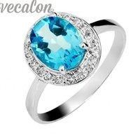 Vecalon Bijoux Femmes Classiques bijoux bague 3ct imitation Aquamarine Cz Bague Bague de mariage or blanc rempli anneau de doigt femelle
