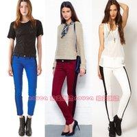 Wholesale 2016 Autumn and winter current elliott colorant match slim elastic skinny pants multicolor women ninth jeans