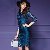 Casual Dresses Plus Size Dresses Spring Women Slim Dress Office Work Dresses Embroidery Formal Party Clothing Plus Size Net yarn skirt Blue Black 3XL Good Quality Fashion Famous