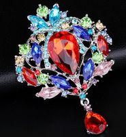 Cheap Wholesale High Quality Women Brooch Rhinestone acrylic Elegant Pin Brooch Fashion wedding party costume jewelry gift brooches