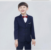 baby pinstripe suit - New Child Boys Formal Tuxedo Costume Suit Sets Kids Prom Party Suit Wedding Suits For Baby Boys simple fashion style Jacket Pants