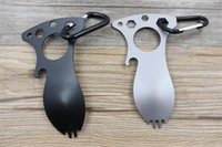 Wholesale New Eat N Tool Spork Bottle Opener C Carry Carabiner for Camping Survival Tool