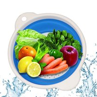 Wholesale 1 pc Multi color Collapsible Strainer Round Squish Colander Squish Strainer Folding Fruits Vegetables Basket Diameter