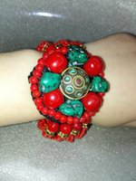 Wholesale Silver Turquoise Coral Tibetan Bracelet - Excellent Tibetan Red Coral Bead Turquoise Bracelet Bangle multilayer Coral Bead