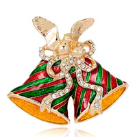 african christmas decorations - Brand New Brooches Pin Christmas decoration jewelry christmas gift red colour mix green Double Jingling Bell brooches