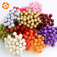 artificial christmas berries - 40pcs heads Mini Fake Fruit Small Berries Artificial Flower cherry Bouquet Stamen Wedding Home Christmas Decorative