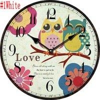 Wholesale high quality Creative European Vintage Owl Living Room Wood Quartz Digital Wall Clock Home Decoration