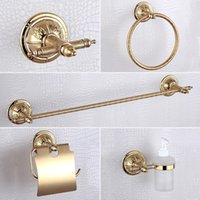 bar soap dispenser - Golden Bathroom Accessories Sets Luxury USD304 Stainless Steel and Copper Liquid Soap Dispenser Towel Bar Toilet Paper Holder