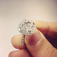 Wholesale 1 Ct Natural Cushion Cut Halo Pave Diamond Engagement Ring GIA Certified