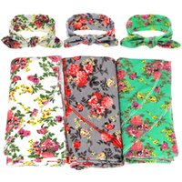 band blankets - 1 Set Newborn Toddler Infant Baby Floral Swaddle Blanket Matching Top Knot Headband Hair Band Accessories Sets Photograph