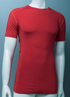 running wear - Men GYM Tee Fitness Shirt Running Clothes Workout Shirt YOGA Wear Sportswear Training Spandex Tight Embossing Seal Obscure