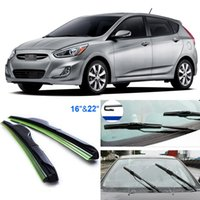 Wholesale 2pcs quot quot front windscreen New high quality windshield wiper blades Soft Rubber WindShield Wiper Blade For Hyundai Accent