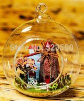 dollhouse - DIY Doll House Glass Globe Holland Trip Assemblt Scale Model Dollhouse Miniature with Furniture and Lights Novelty