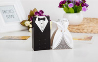 Wholesale 2016 New Arrival Wedding Favor Box pairs Bride and Groom Gift Candy Box with Ribbon