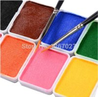 Wholesale 12 colors set Makeup pigment palette Halloween g color body paint brushes drawing water based human face painting cream Pumpkin