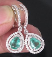 Wholesale 2 CT SOLID Kt WHITE GOLD NATURAL GORGEOUS GREEN EMERALD DIAMOND EARRING
