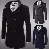 Wholesale Fashion Men s Winter Coat Turn down Collar Wool Blends Warm Men s Pea Coat Double Breasted Winter Overcoat For Male MWN113