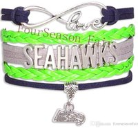 best cords - Hot Jewelry Infinity Love Seahawks Football Bracelet Sports Team Wax Cords Wrap Braided Leather Bracelet Friendship Best Gift New Bangles