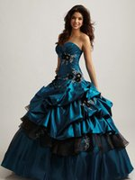 aqua silk flowers - 2016 Vintage Modern Aqua Blue And Black Quinceanera Dresses Ball Gown prom dressess Floor Length Taffeta Handmade Flower Pleated Bustled