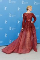 banks images - Elizabeth Bank Elie Saab Runway Evening Dresses with Long Sleeves Jewel Neck Ombre Tulle Celebrity Gowns with Pearls and Sequins