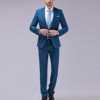 Wholesale New Men s Formal Wear Custom Made Solid White Suit Men Wedding Suits Groom Tuxedos For Men Bridegroom Blazer Pant Mens Set