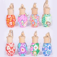Wholesale ML Hanging Perfume Polymer Clay Glass Empty Bottles Car Air Freshener Car Rearview Mirror Pendant Car Interior Accessories
