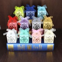 Wholesale 3000pcs Love Heart Laser Cut Candy Gift Boxes With Ribbon Wedding Party Favor NEW