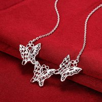 beaded butterfly choker - Beautiful butterfly family pendants charm beaded Necklaces chokers chains pure silver n756 gifts Christmas Halloween New Jewelry