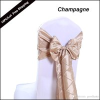 Wholesale PC Set Wedding Chair Sashes Bow Taffeta Pintuck Spandex Chair Cover BowTie Chair Back Decor in Event Party Supply