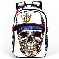 Wholesale 3D Skull Head Pattern Zipper Backpack Cool Teen Boy School Men Travel Street Shoulder Bag Knapsack