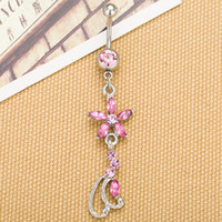 acrylic diamond ring - 0137 Nice style Navel belly ring PINK color piercing body jewelry stone drop shipping