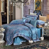 Wholesale Luxury Royal Blue Lace Jacquard Bedding Sets Queen King Size Tencel Satin Bedclothes Duvet Cover Bed Sheets Pillowcase AB20