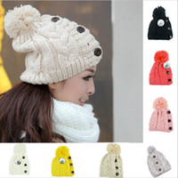 Wholesale New Winter Cap Women Warm Woolen Knitted Fashion Hat For Gilrs Jonadab Button Twisted Beanie Cap Woman Fur Cap Accessories