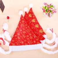 bell hats - Christmas Hats With Snowflake Moon Small Bells Printed Santa s hat Santa Claus Hats Lovely Christmas Cosplay Hats Product Code