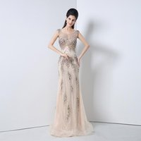 beaded tuxedo - 2016 A Line Elegant Sexy Champagne Evening Dresses Beadings Colorful Sequins Ladies Formal Tuxedo Party Celebrity Illusion Gowns