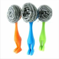 Wholesale Creative Kitchen Cleaning Brush Soft Stainless Steel Wire Ball Cleaner With Plastic Handle Pan Pot hearth Washed