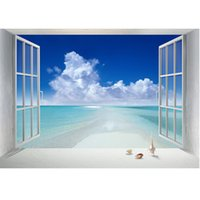 Wholesale 1 Set The Sea Outside the Window Painting Modern Wall Oil Art Bedroom Home Print on Canvas
