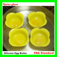 Wholesale DHL Free Creative Flower Shape Kitchen Egg Cooker Poacher Pod Silicone Non toxic Egg Boiler Steamer Egg Colorful Cookware Cooking Tools