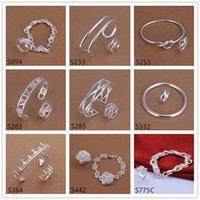 Wholesale sterling silver jewelry sets sets a mixed style EMS44 brand new fashion silver Bracelet Ring jewelry set