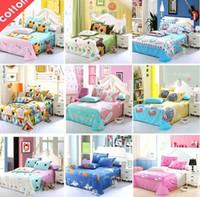 Wholesale Cartoon sheet summer new cotton linens dormitory bedding sets