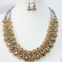 abacus for sale - Newly hot sale Bohemia gold plated chains handmade abacus crystal necklace earrings jewelry set colors for women B1271