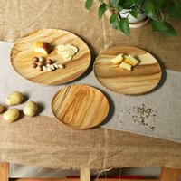 Wholesale 3 set Heavy Round Natural Color Self Colored Olive Wooden Plate Dishes Eco Friendly kitchenware three sizes
