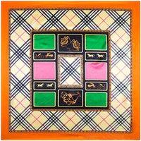 Cheap 90cm*90cm New Fashion British Geometry Grid style women silk satin large square scarf