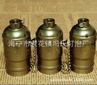 Wholesale UL certified Genuine Bronze E26 screw aluminum shell Lamp Retro lamp holder E27 zipper knob stepless lamp