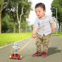 Wholesale Hot Sales Baby Push Pull Toys Toddler Kids Funny Wooden Activity Learn To Walk Tools JN0086