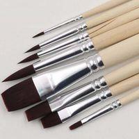 Wholesale Durable Set Nylon Hair Artist Watercolour Acrylic Oil Painting Paint Brush Set Supply Painting Brush Wood Handle