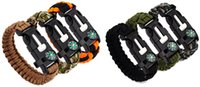 paracord bracelets - Outdoor Survival Bracelets Flint Fire Starter Paracord Whistle Gear Buckle Camping Ignition Equipment Resure Rope Escape Bracelet QS001