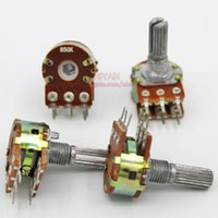 Wholesale B50K K OHM B50K MM Dual Rotary Potentiometer WH148 Linear Taper Pots Shaft mm With Nuts and Shim Pins